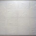 """Nicola Dusi Gobbetti, """"Concrezione fossile n. 3"""", olio, tessuti e colle su tavola, 72x98, 2011."""